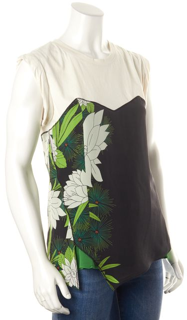 3.1 PHILLIP LIM Ivory Black Green Floral Print Silk Sleeveless Blouse Top