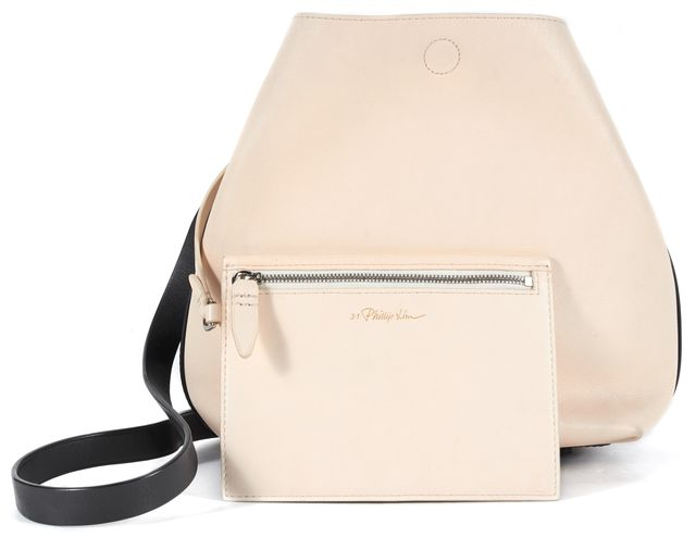 3.1 PHILLIP LIM Powder Beige Black Quill Mini Calfskin Leather Bucket Bag