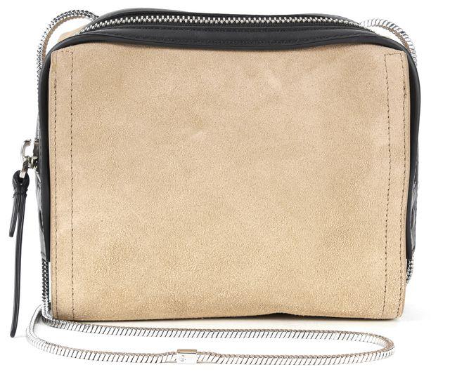 3.1 PHILLIP LIM Almond Beige Black Suede Leather Soleil Mini Zip Crossbody