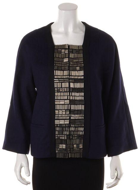 3.1 PHILLIP LIM Navy Blue Silver Beaded Embellished Wool Swing Jacket