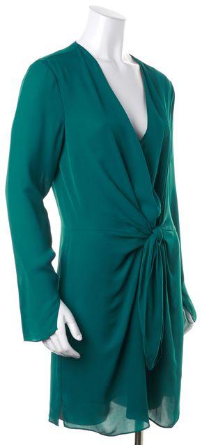 3.1 PHILLIP LIM Dark Turquoise Green Silk Tie Front Blouson Dress