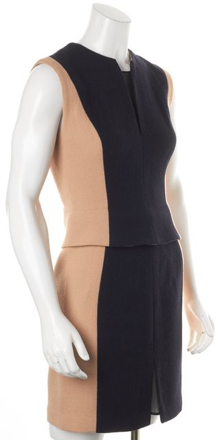 3.1 PHILLIP LIM Beige Navy Colorblock Peplum Detachable Dress