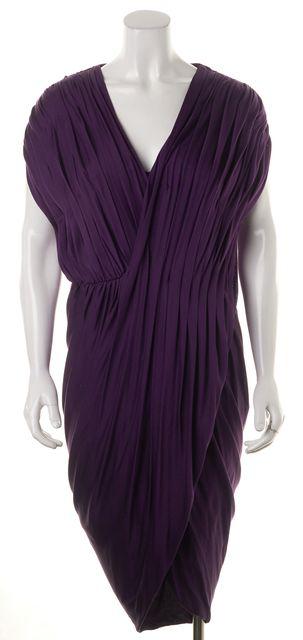 3.1 PHILLIP LIM Purple Silk Jersey Pleated Draped Wrap Style Sheath Dress
