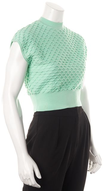 3.1 PHILLIP LIM Mint Green Sleeveless Crewneck Cropped Knit Top