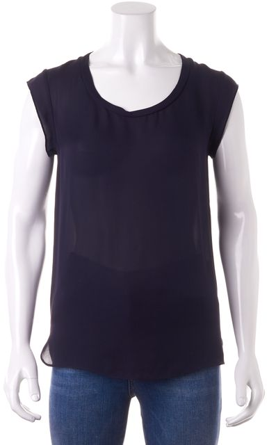 3.1 PHILLIP LIM Navy Blue Semi Sheer Relaxed Fit Blouse