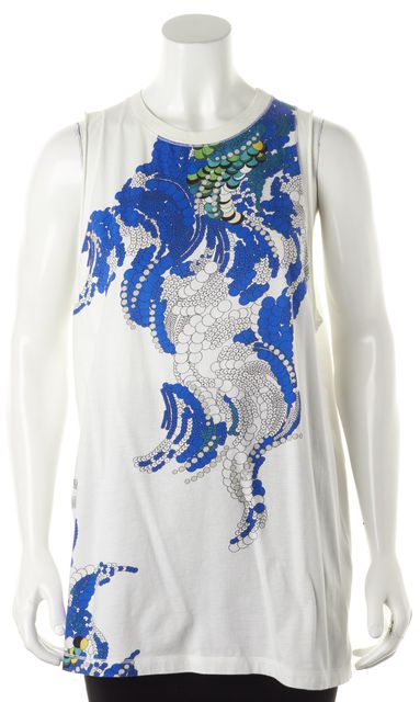 3.1 PHILLIP LIM White Sleeveless Graphic Tunic Top