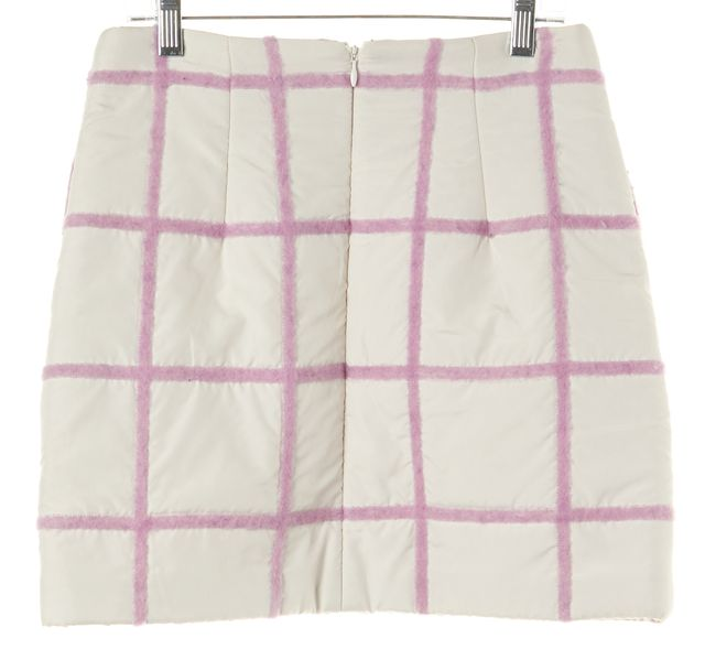 3.1 PHILLIP LIM Lilac Purple Fuzzy Wool Grid Quilted Mini Skirt