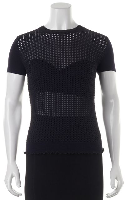 3.1 PHILLIP LIM Navy Blue Perforated Short Sleeve Wool Blouse Top