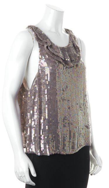 3.1 PHILLIP LIM Gray Sequin Embellished Silk Sleeveless Blouse Top