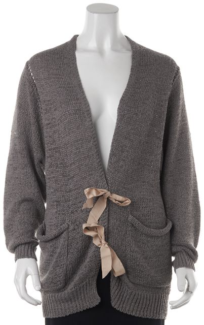 3.1 PHILLIP LIM Gray Cotton Knit Long Sleeve Tied Cardigan