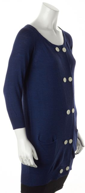 3.1 PHILLIP LIM Navy Blue Wool Double Button Long Cardigan