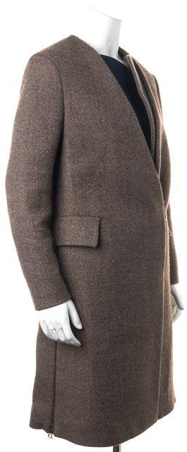 3.1 PHILLIP LIM Brown Wool Hidden Closure Detachable Contrast Trim Coat