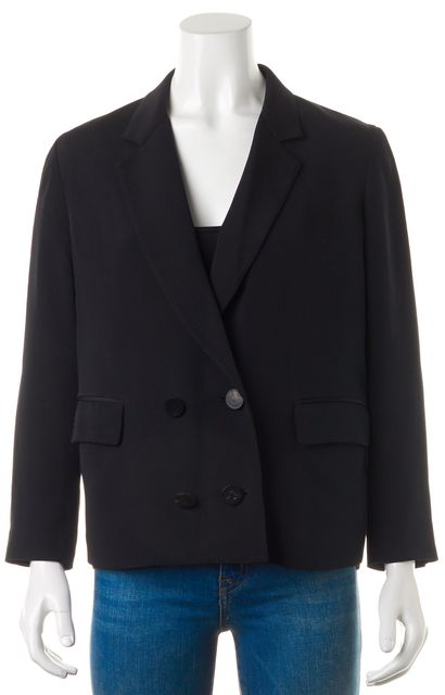 3.1 PHILLIP LIM Black Silk Double Breasted Pocket Front Blazer