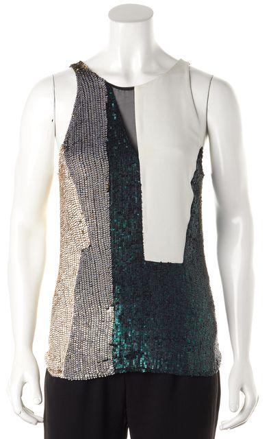 3.1 PHILLIP LIM Emerald Multi-color Sequin Sleeveless Silk Blouse Top