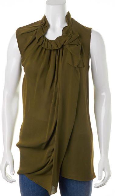 3.1 PHILLIP LIM Green Crepe Silk Sleeveless Pleated Ruffle Trim Blouse Top