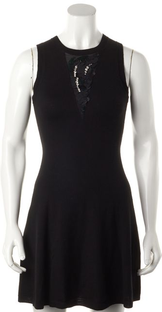 3.1 PHILLIP LIM Black Wool Sequin Embellished Fit & Flare Sweater Dress