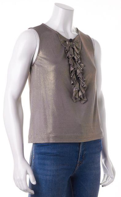 3.1 PHILLIP LIM Purple Gold Silk Ruffle Blouse Top