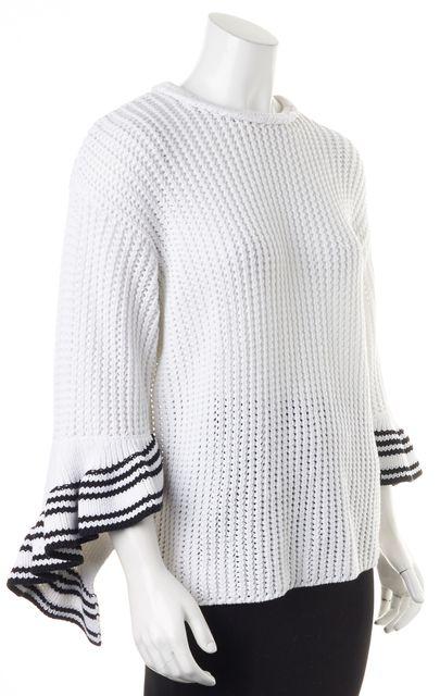 3.1 PHILLIP LIM White Navy Trim Cotton 3/4 Bell Sleeves Crewneck Sweater