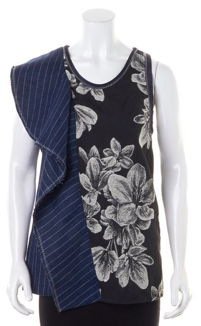 3.1 PHILLIP LIM Black Blue Floral Striped Split Abstract Blouse Top