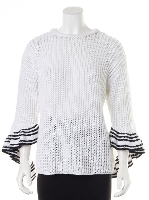 3.1 PHILLIP LIM White Navy Trim Cotton Knit Bell Sleeves Crewneck Sweater