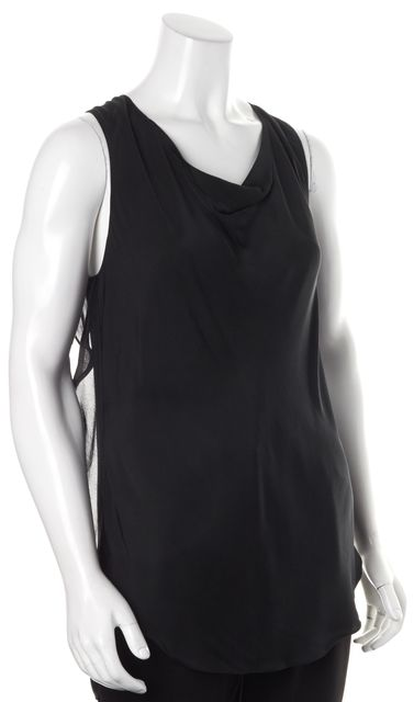 3.1 PHILLIP LIM Black Silk Draped Faux Layered Sleeveless Blouse Top