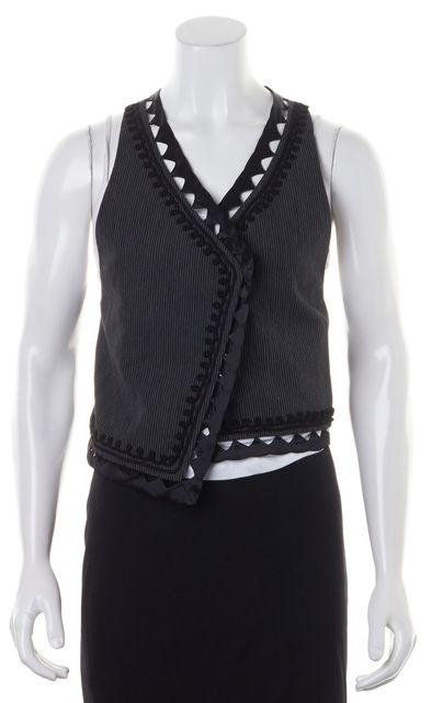 3.1 PHILLIP LIM Gray Embroidered Striped Laser Cut Trim Linen Vest