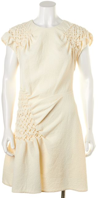 3.1 PHILLIP LIM Ivory Textured Ruched Cap Sleeve Sheath Dress