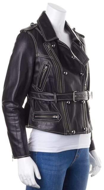 3.1 PHILLIP LIM Black Heavy Weight Leather Contrast Stitching Moto Jacket