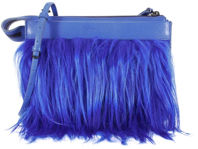 3.1 PHILLIP LIM Electric Blue Leather Small East West Depeche Clutch Bag