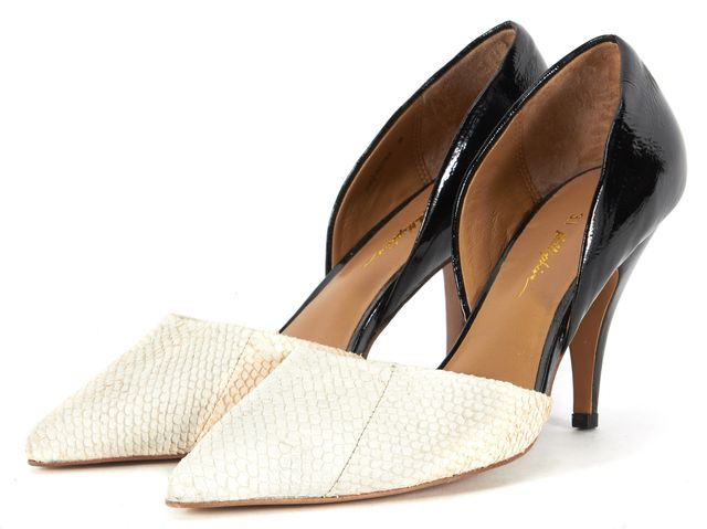 3.1 PHILLIP LIM White Black Leather Pointed Toe Diamond d'Orsay Heels