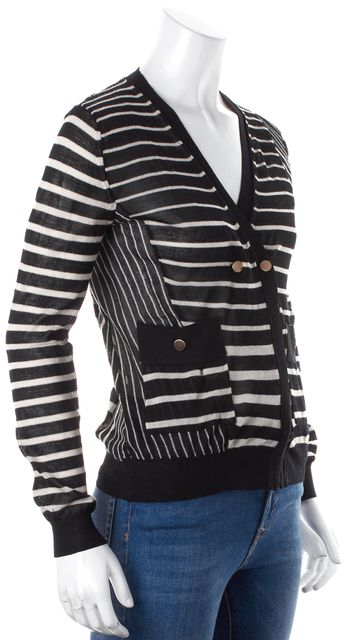 3.1 PHILLIP LIM Black White Striped Double Breasted Cardigan