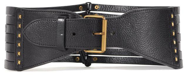 3.1 PHILLIP LIM Black Studded Pebbled Leather Wide Waist Belt