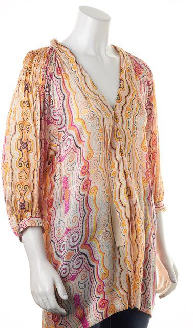3.1 PHILLIP LIM Orange Pink Yellow Abstract Silk Tunic Blouse