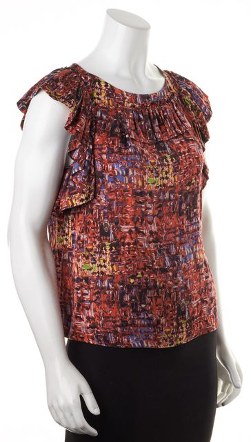 3.1 PHILLIP LIM Red Blue Yellow Abstract Silk Ruffled Blouse