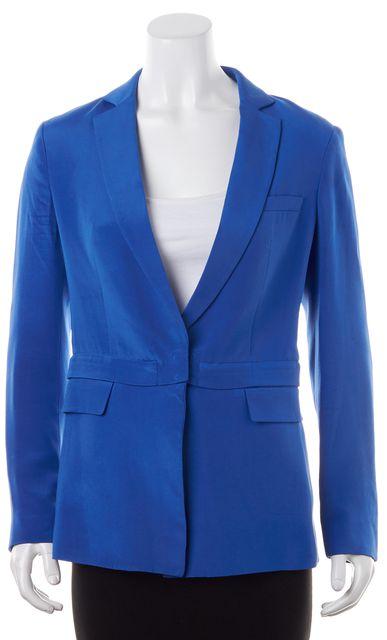 3.1 PHILLIP LIM Bright Blue Silk Hook Closure Multi-Way Zipper Blazer
