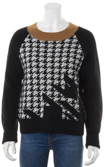 3.1 PHILLIP LIM Black White Camel Merino Wool Houndstooth Crewneck Sweater
