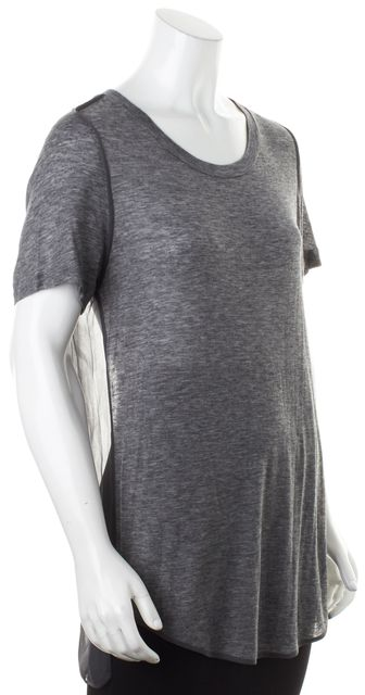 3.1 PHILLIP LIM Heather Gray Short Sleeve Sheer Back Tee T-Shirt Top