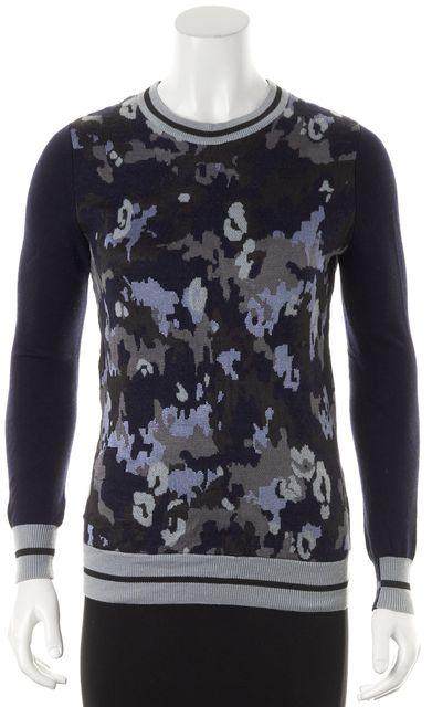 3.1 PHILLIP LIM Blue Black Camouflage Merino Wool Knit Crewneck Sweater