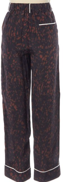 3.1 PHILLIP LIM Black Burgundy Printed White Piping Silk Trousers Pants
