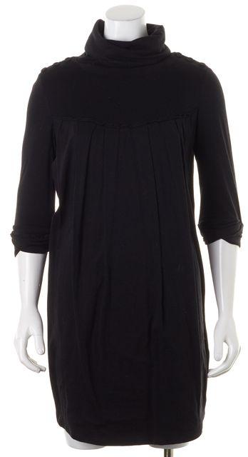 3.1 PHILLIP LIM Black Cotton Wool Jersey Pleated Turtleneck Shift Dress