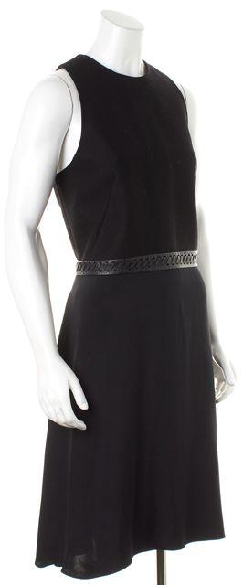 3.1 PHILLIP LIM Black Cotton Braided Leather Trim Silk Skirt Sheath Dress