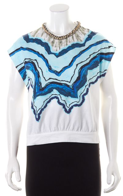 3.1 PHILLIP LIM Blue White Abstract Bead Embellished Blouse