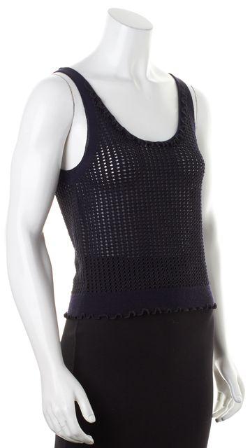 3.1 PHILLIP LIM Metallic Navy Blue Wool Sleeveless Sheer Open Knit Top