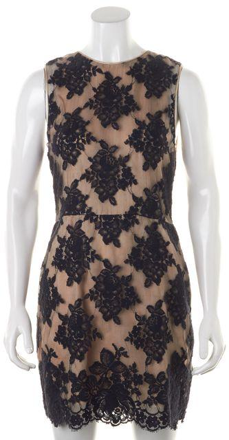 3.1 PHILLIP LIM Black Beige Lace Overlay Wool Sleeveless Sheath Dress