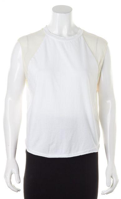3.1 PHILLIP LIM White Cotton Ivory Silk Trim Sleeveless Muscle Tee T-Shirt