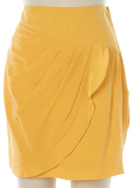 3.1 PHILLIP LIM Yellow Silk Above Knee Draped Straight Skirt