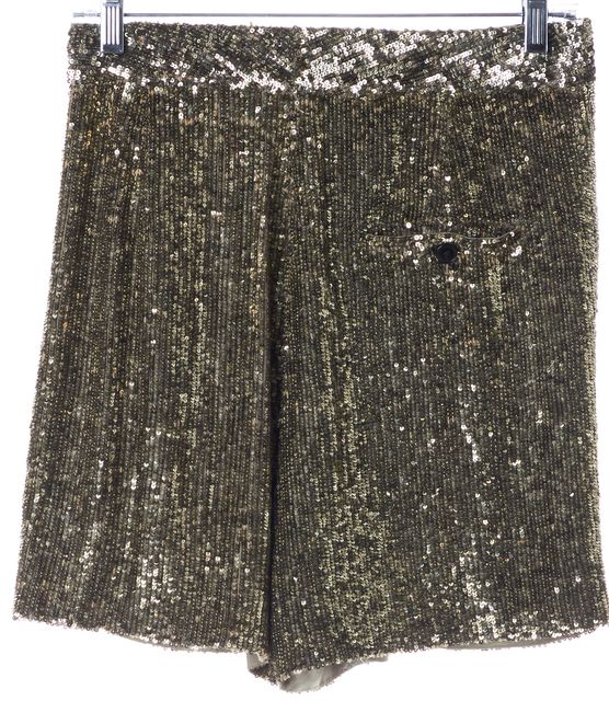 3.1 PHILLIP LIM Gold Sequin Silk Fold-Over Dress Shorts
