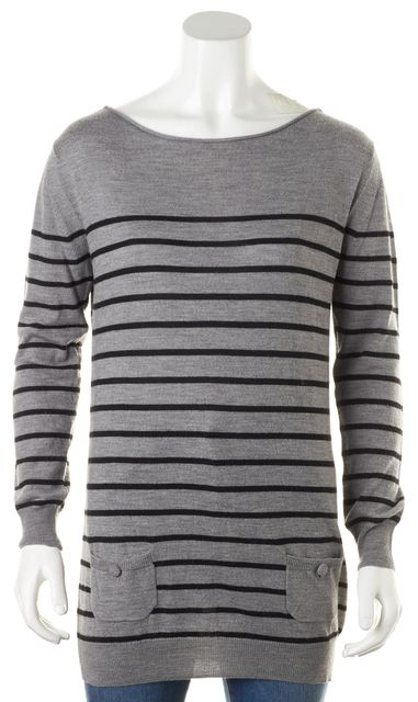 3.1 PHILLIP LIM Gray Black Striped Merino Wool Knit Top