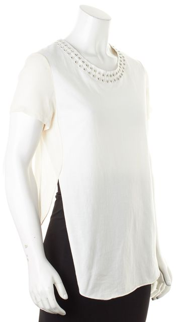 3.1 PHILLIP LIM Ivory Safety Pin Embellished Cotton Silk Blouse