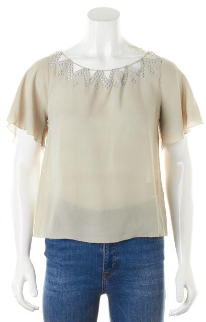 3.1 PHILLIP LIM Gray Eyelet Trim Silk Short Sleeve Blouse